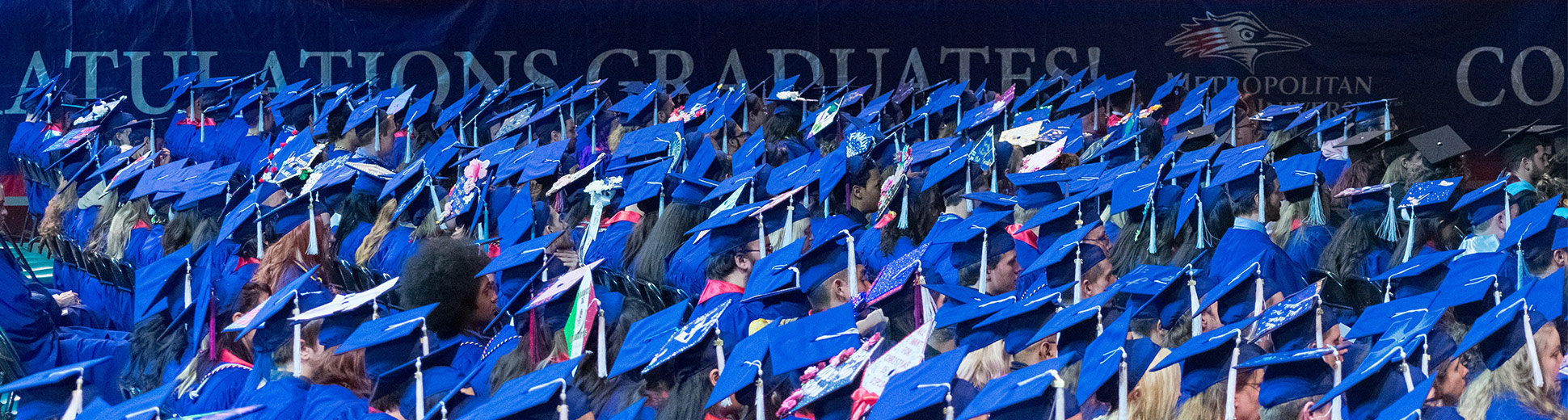 Students in graduation caps at commencement