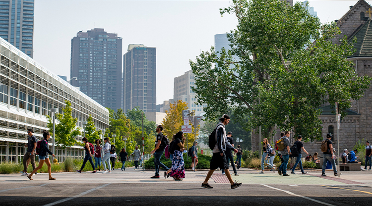 Students walking through Auraria Campus in between classes.