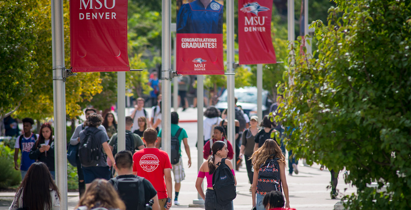 A busy day on Auraria Campus.
