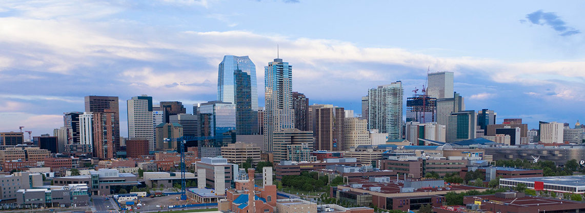 Aerial view of Auraria Campus and Downtown Denver.