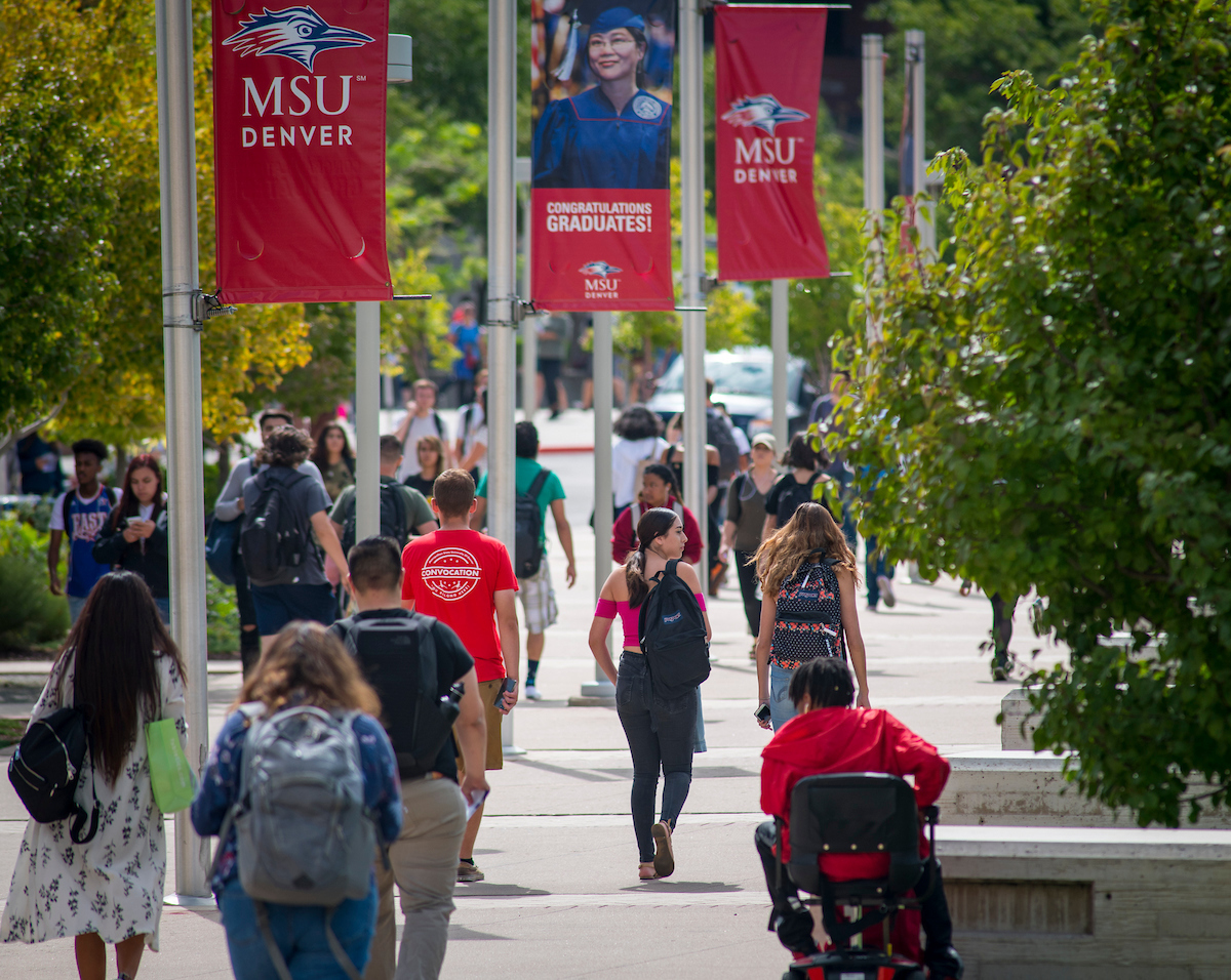 Students walking down pathway on Auraria Campus