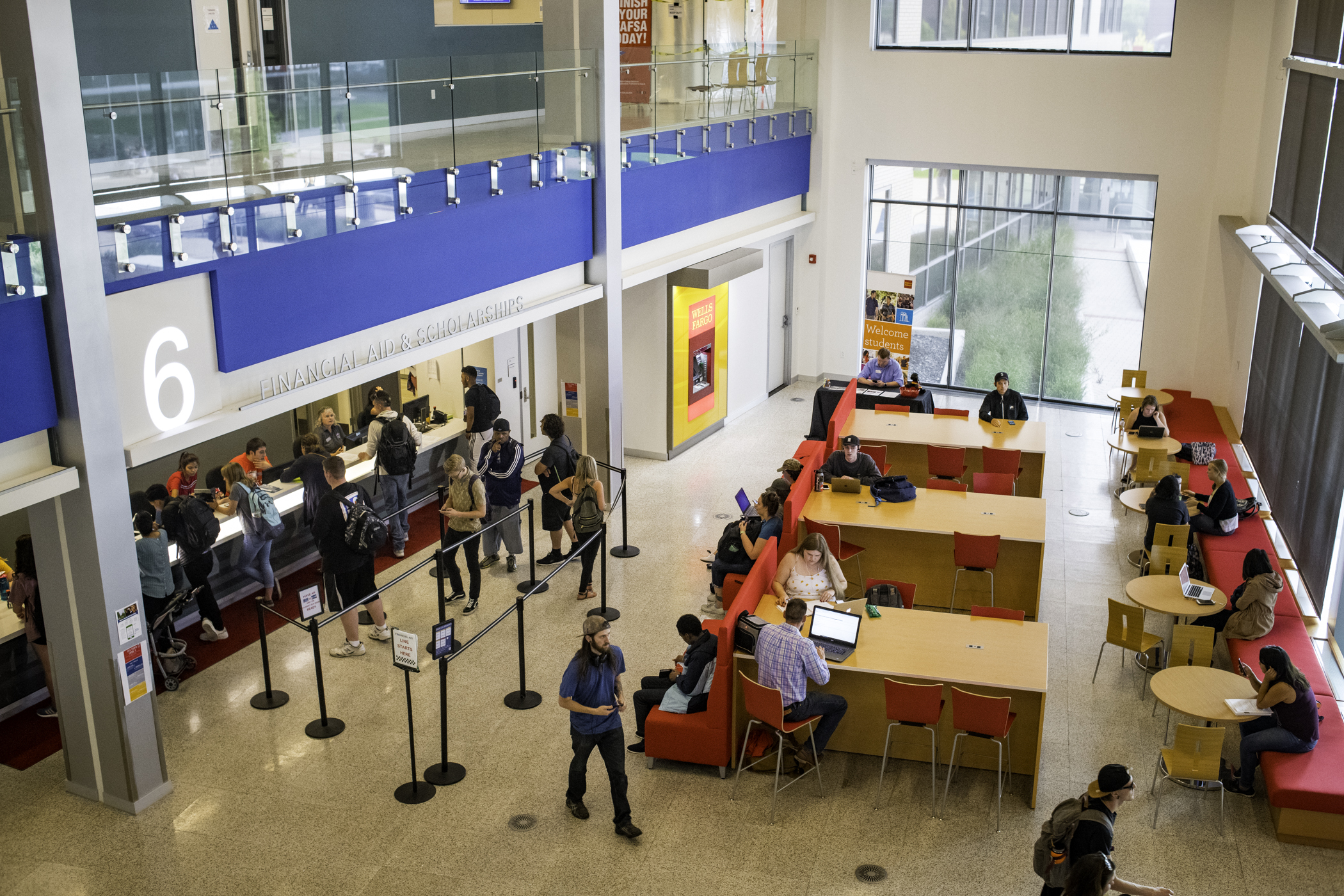 Photo from 2nd floor overlooking Financial Aid counter
