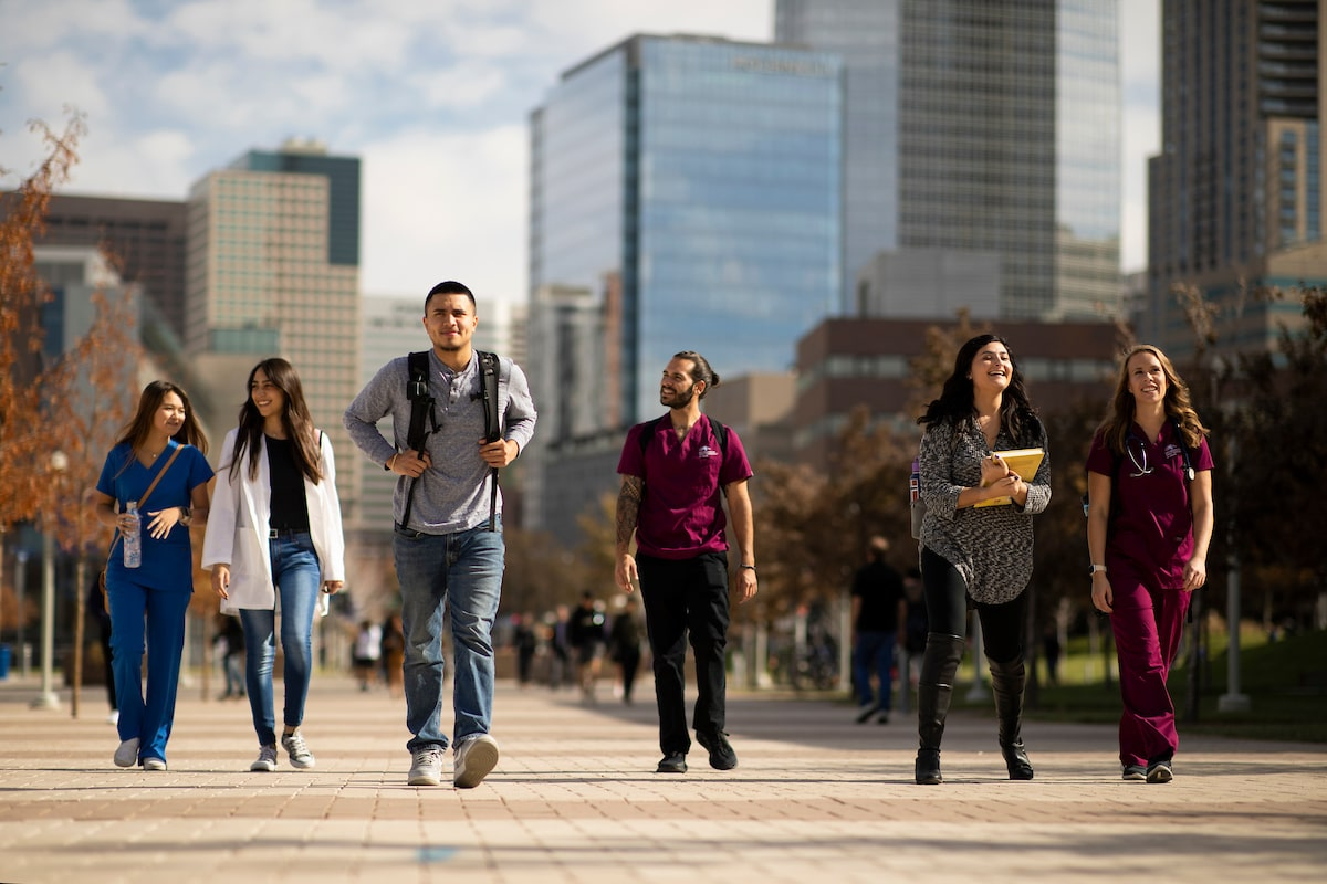 Health Administration and medical students walking through Auraria Campus in between classes.