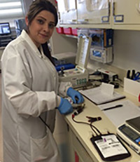 Student working in the immunohematology (blood bank) during her clinical rotation.