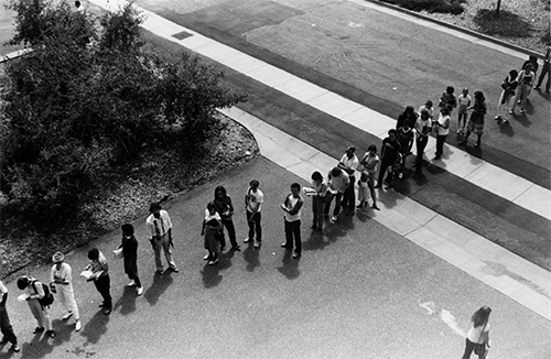 Line of students waiting to register