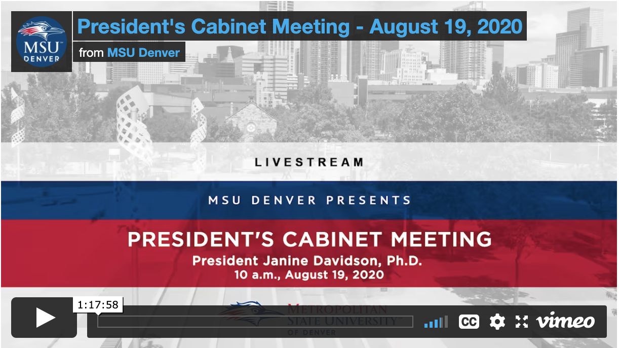 Thumbnail: President's Cabinet Meeting August 2020