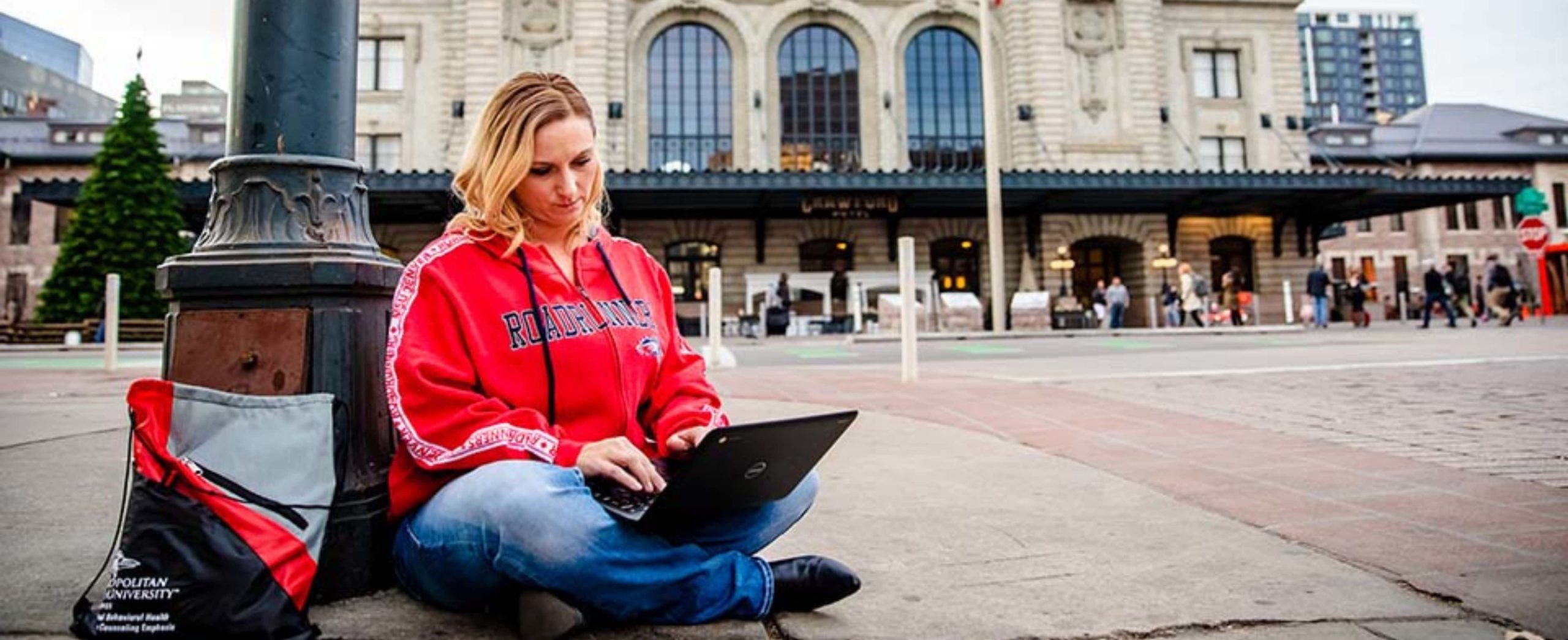 Online MSU Denver student learning outside the classroom
