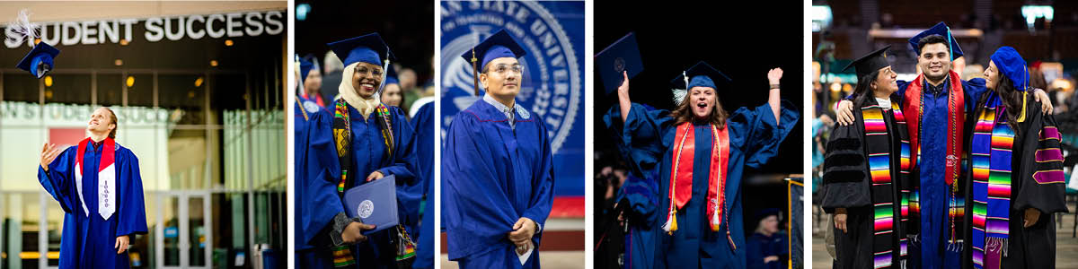 Four photos, side-by-side, of graduates celebrating their accomplishments.