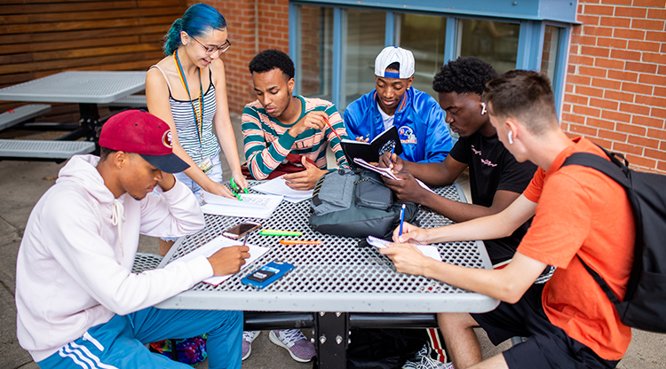 Students gather for a group study session outside the Tivoli Student Union.
