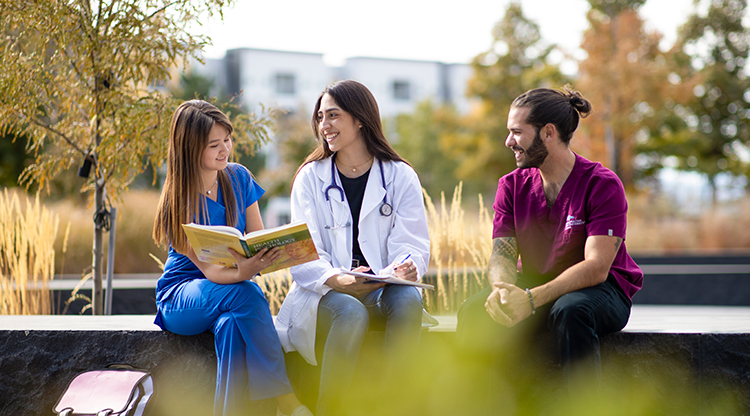 Health Professions students gather on Auraria Campus.