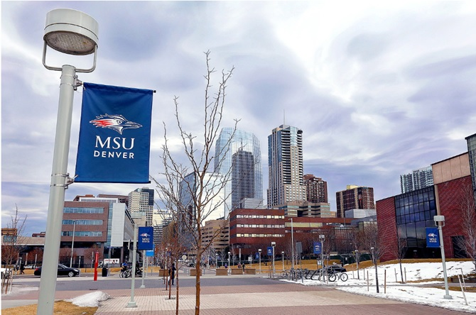 photo of campus facing downtown with a MSU Denver banner in the foreground