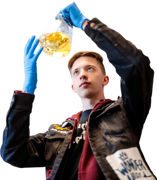 science student with beaker