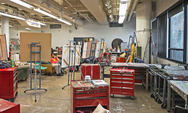 The Painting Studio with splatters of paint and easels, it's a bright cheerful space.