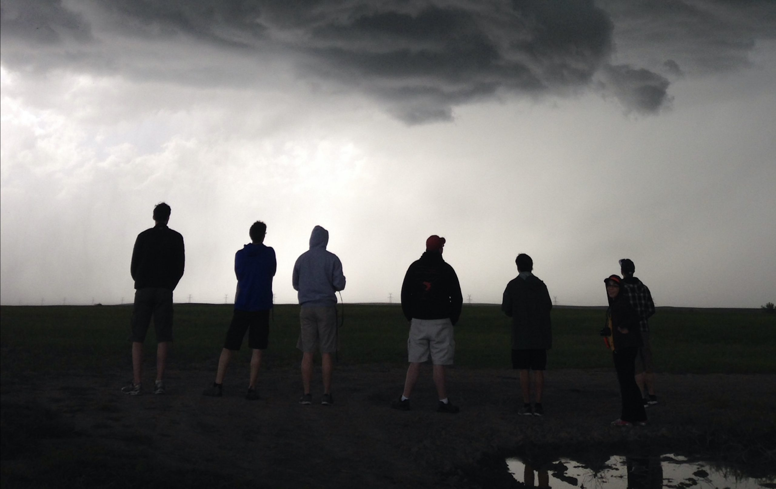 Students watching the storm