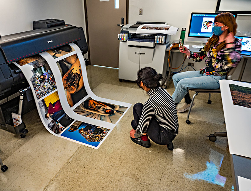 Students waiting for images to print