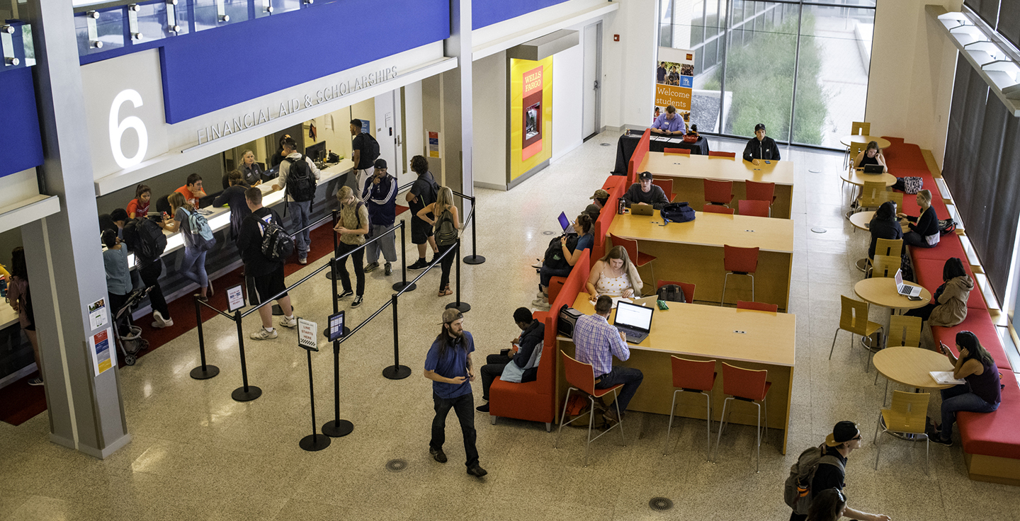 Students in the lobby of the JSSB