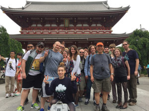 Students in front of Japanese temple.