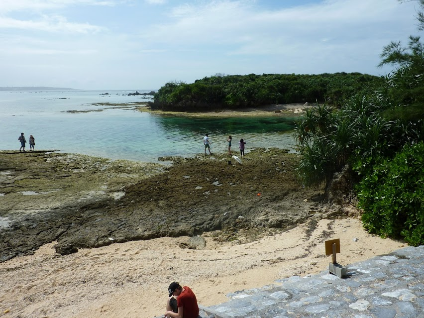 Students at beach in Okinawa.